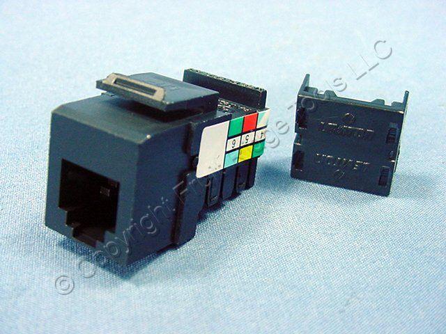 leviton black quickport 6 wire phone jack rj11 telephone. Black Bedroom Furniture Sets. Home Design Ideas
