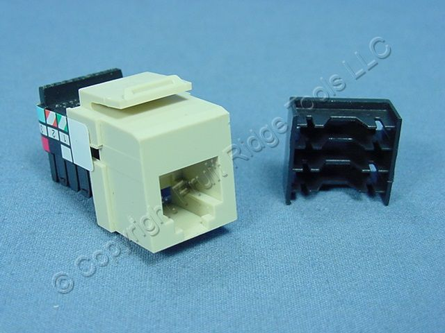 new leviton ivory quickport 6 wire snap in phone rj11. Black Bedroom Furniture Sets. Home Design Ideas