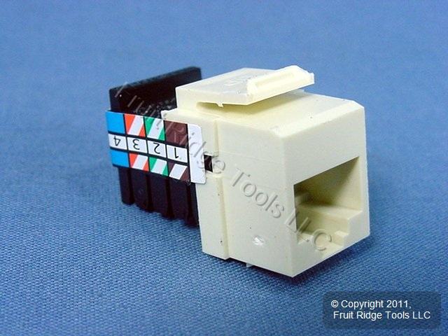 leviton almond quickport 8-wire phone jack rj45 telephone ... leviton phone jack wiring diagram rj11