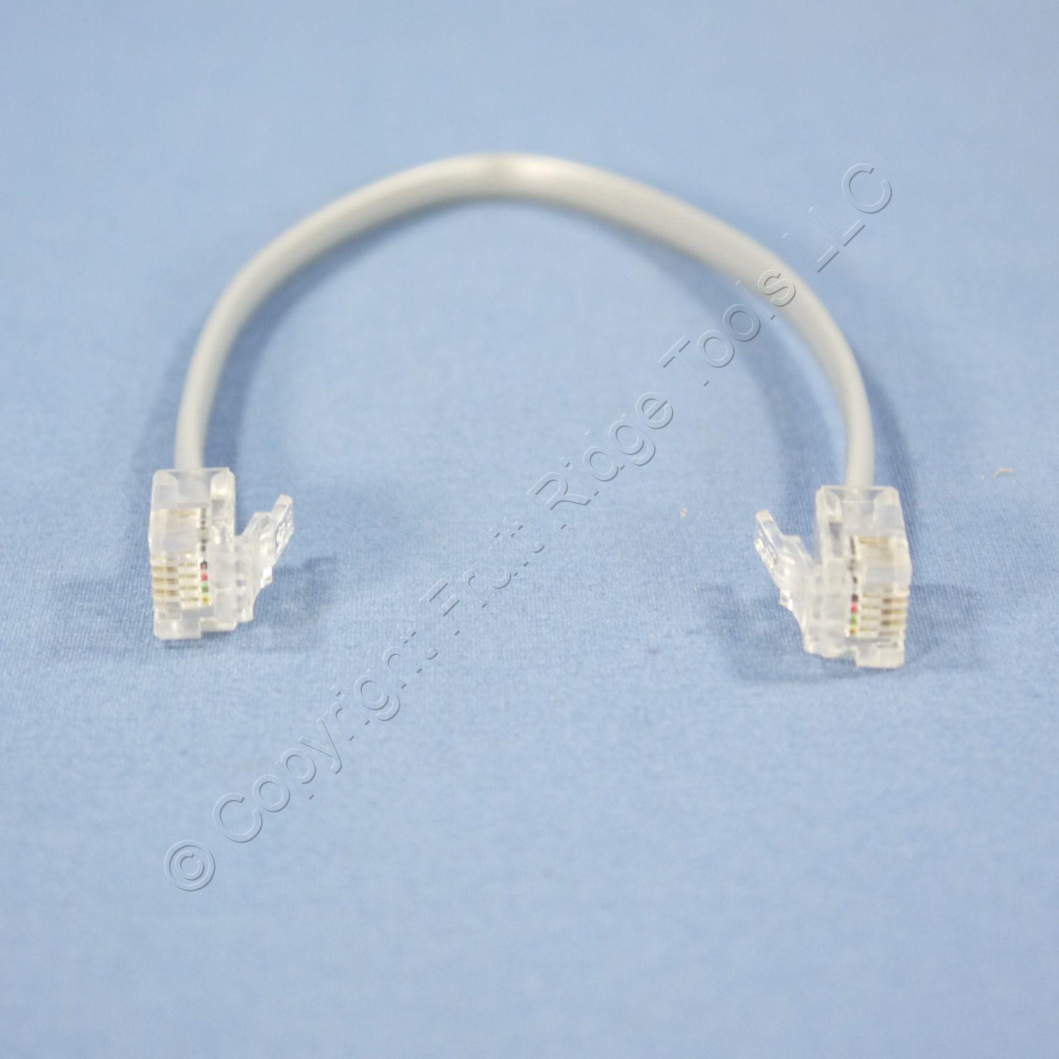 leviton gray 7 4 wire modular line cord patch jumper rj11. Black Bedroom Furniture Sets. Home Design Ideas