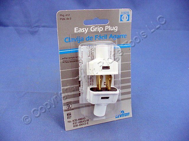 2 Leviton White Straight Blade Easy Grip Plugs NEMA 1-15 Non-Polarized 15A 125V 48643-W