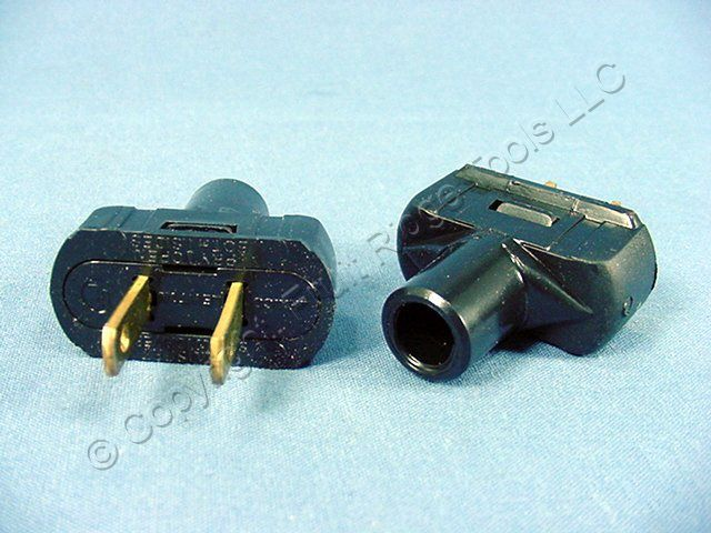 2 Do It Best Black Straight Blade Easy Grip Plugs NEMA 1-15 Non-Polarized 15A 125V 520412