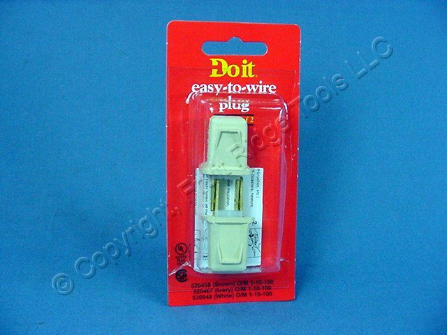 2 Do It Best Ivory 1-15 Straight Blade Plugs 10A 125V 520467