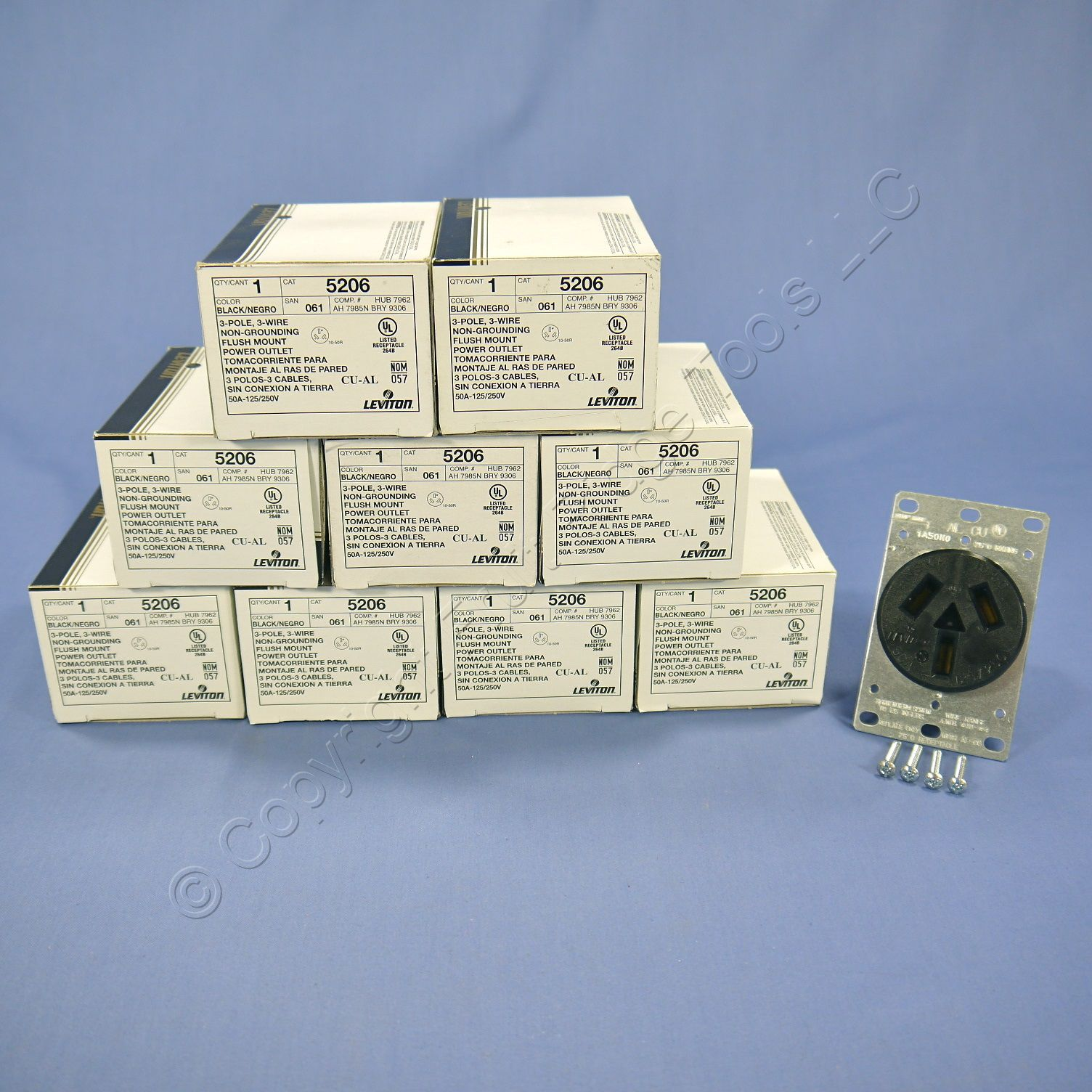 10 leviton dryer range power outlet receptacles nema 10 50r 50a 125 250v 5206 ebay