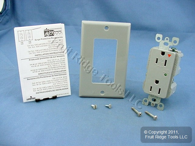 Leviton Gray ISOLATED Ground SURGE SUPPRESSION Receptacle Duplex Outlet 15A 5280-IGG