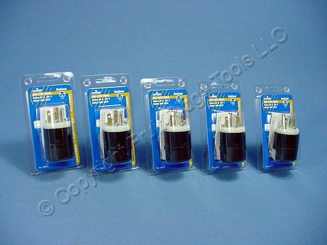 5 Leviton INDUSTRIAL Straight Blade Plugs NEMA 5-20P 5-20 20A 125V 5366-C