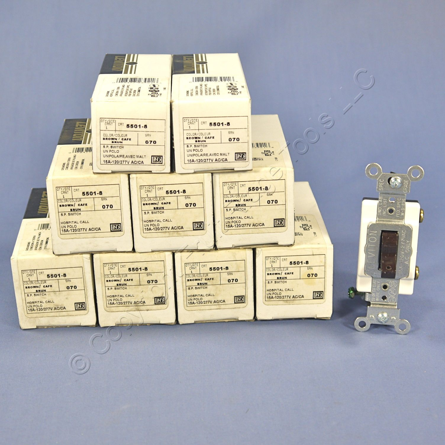 10 Brown Leviton Toggle HOSPITAL CALL Switches Single Pole 15A 5501-8