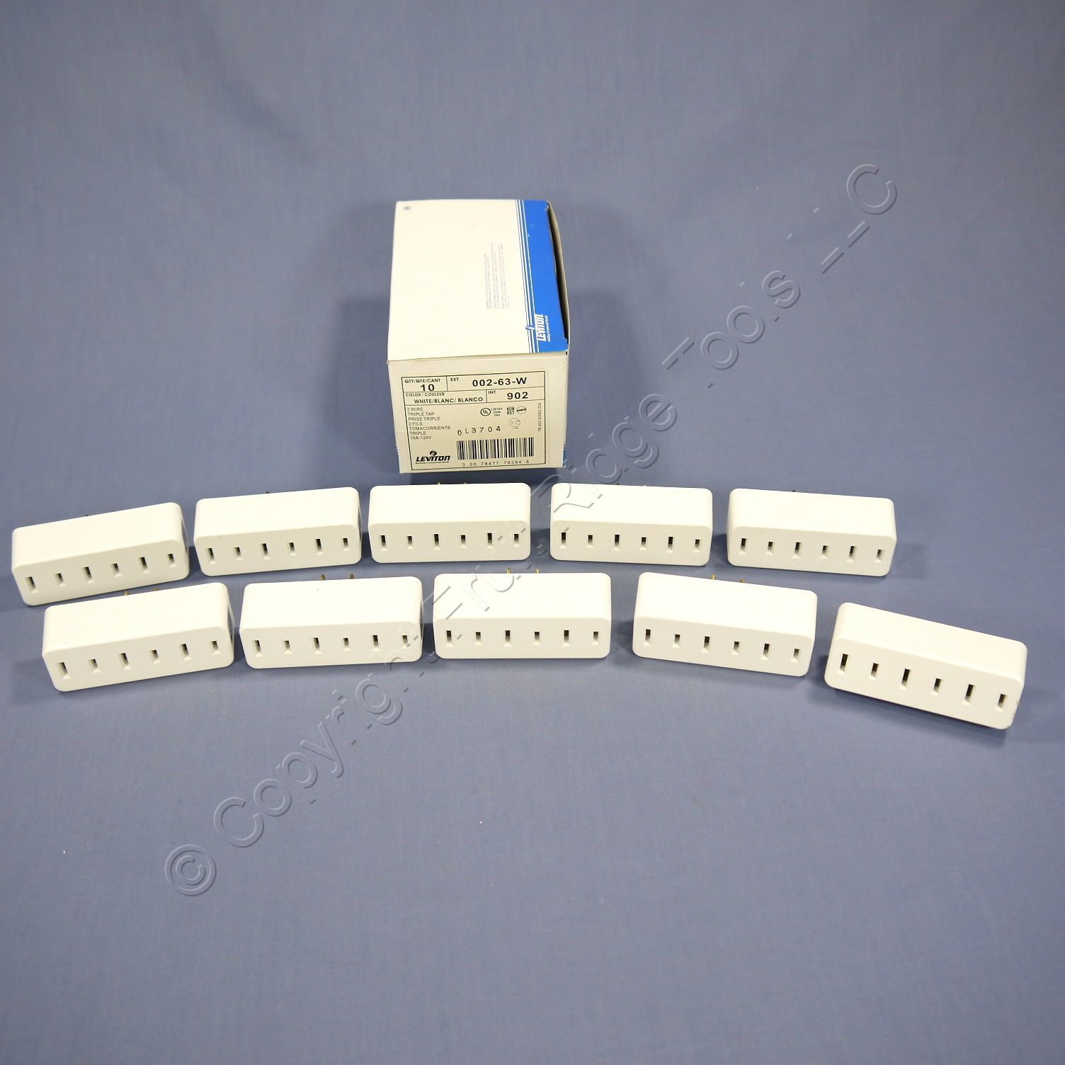 10 Leviton White Triple Tap Outlet Adapters NEMA 1-15R 15A 125V 63-W