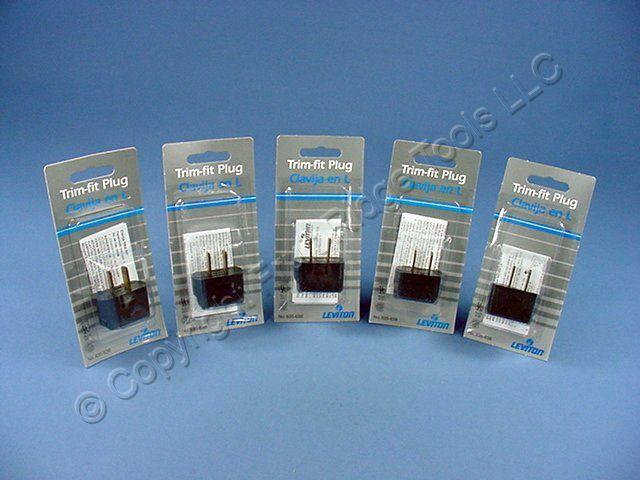 5 Leviton Black Angle Plugs Vinyl Polarized NEMA 1-15P 1-15 15 Amp 125 Volt 638