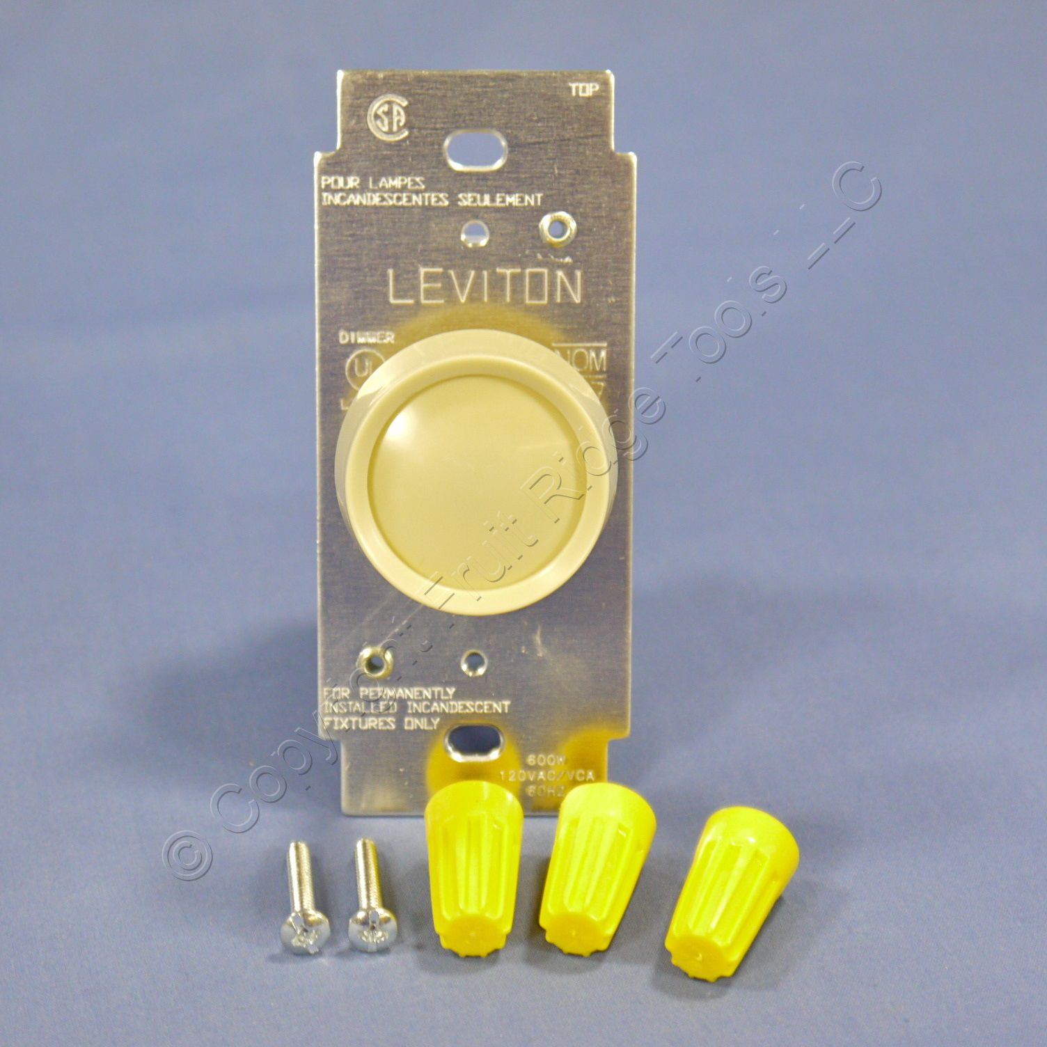 new leviton ivory turn knob rotary light dimmer switch. Black Bedroom Furniture Sets. Home Design Ideas