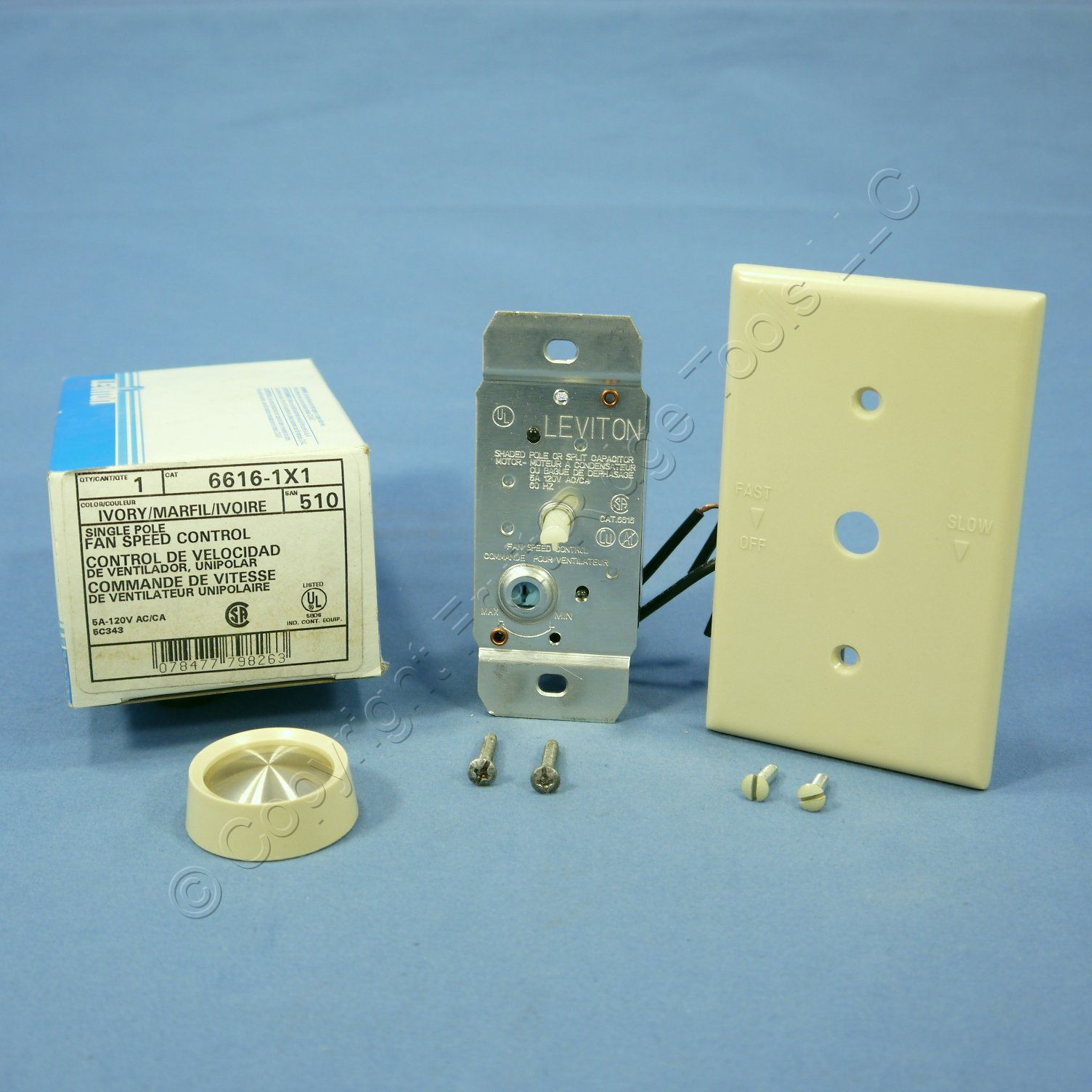 Leviton Ivory Ceiling Fan Rotary Speed Control 5A Turn ON