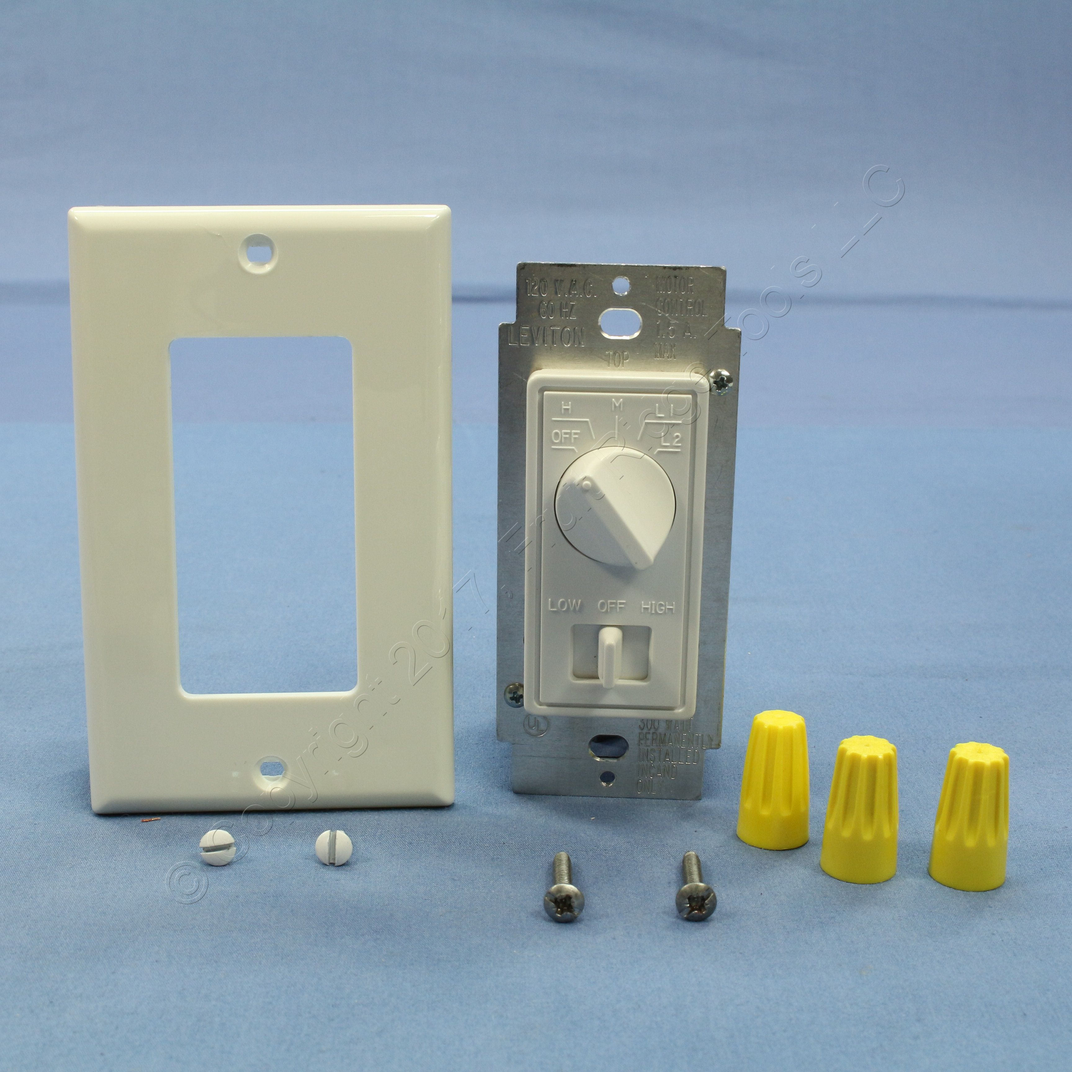 Leviton White Decora Dimmer Switch Stepped Fan Speed