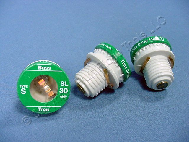 3 Screw-In Fuses Time Delay Type S 30A SL Buss Tron 30 Amp 125V 6710-30