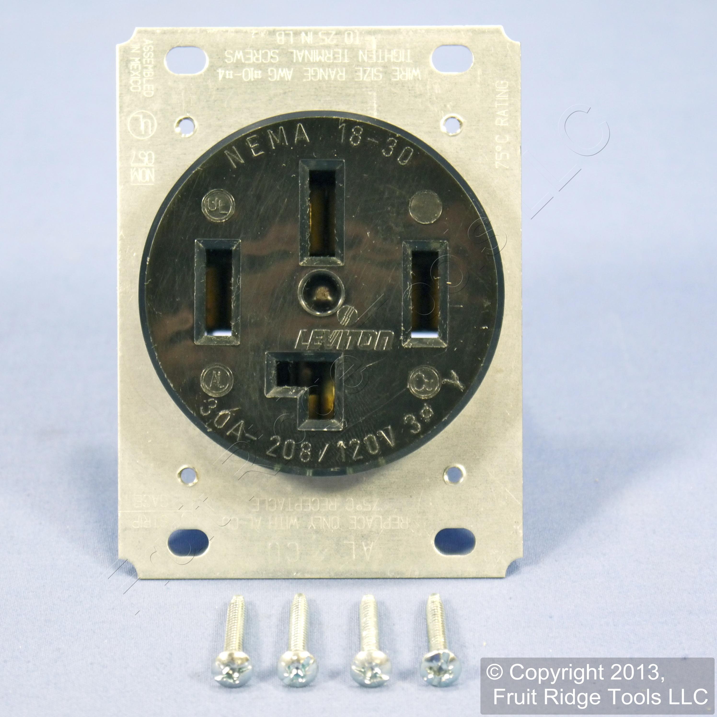 leviton 18 30 receptacle power outlet nema 18 30r 30a 3 y