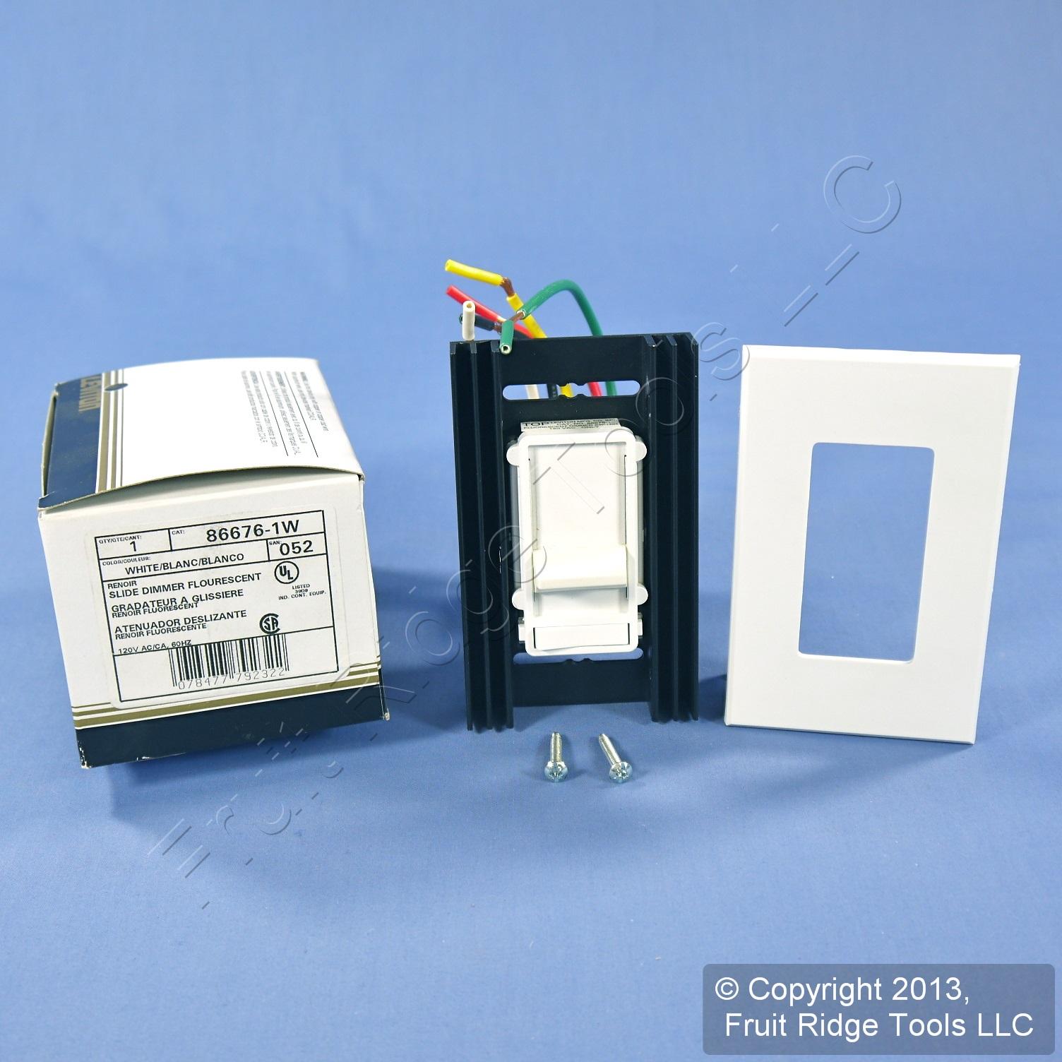 fluorescent white slide light dimmer switch 120v 2 12 lamp 86676 1w. Black Bedroom Furniture Sets. Home Design Ideas