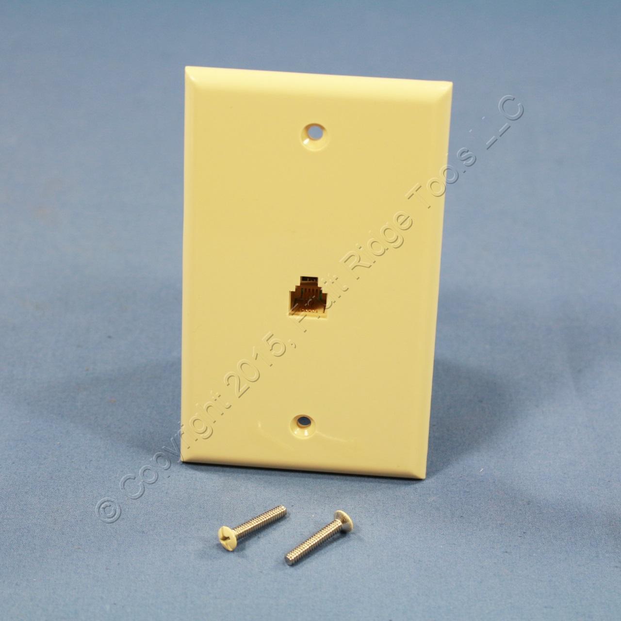 leviton ivory 4 wire phone jack wallplate rj11 modular. Black Bedroom Furniture Sets. Home Design Ideas