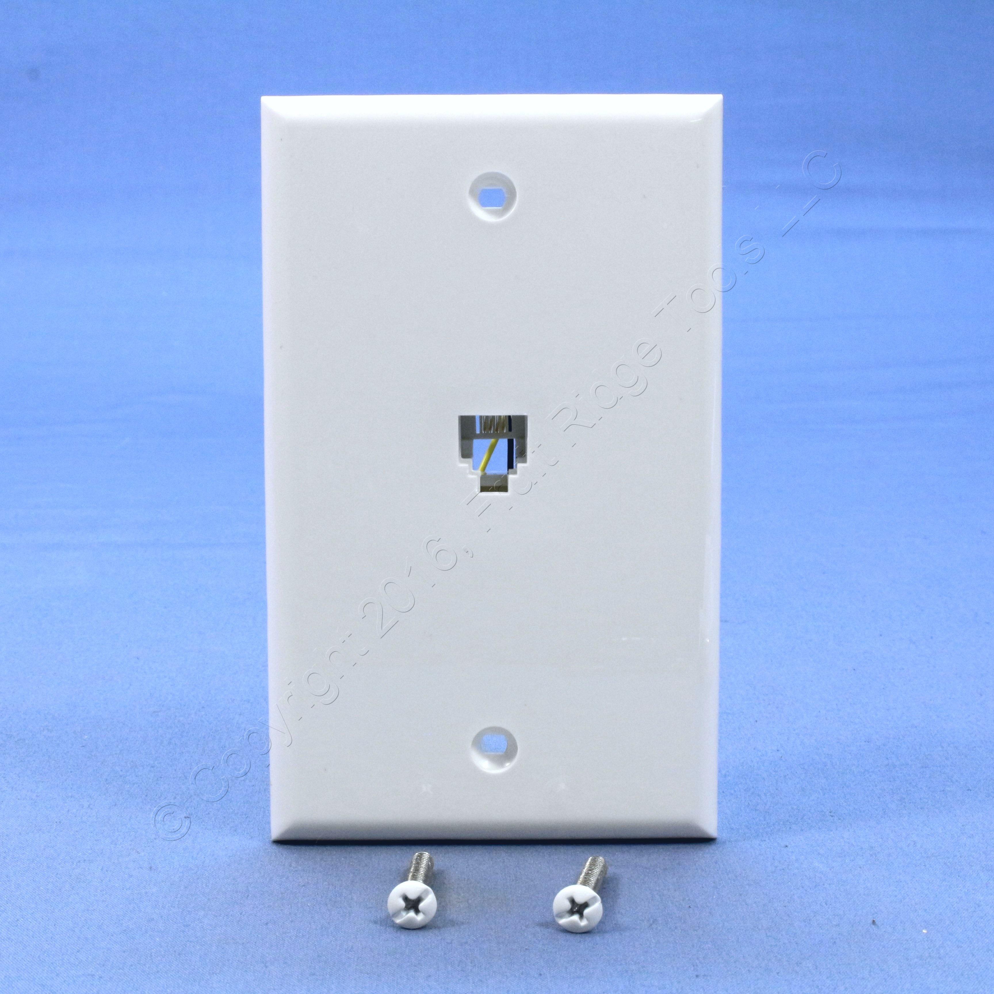 leviton white 4 wire type 625b4 jack wallplate rj11. Black Bedroom Furniture Sets. Home Design Ideas