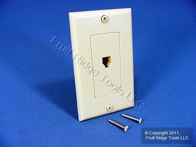 leviton ivory decora phone jack wall plate 6 wire modular. Black Bedroom Furniture Sets. Home Design Ideas