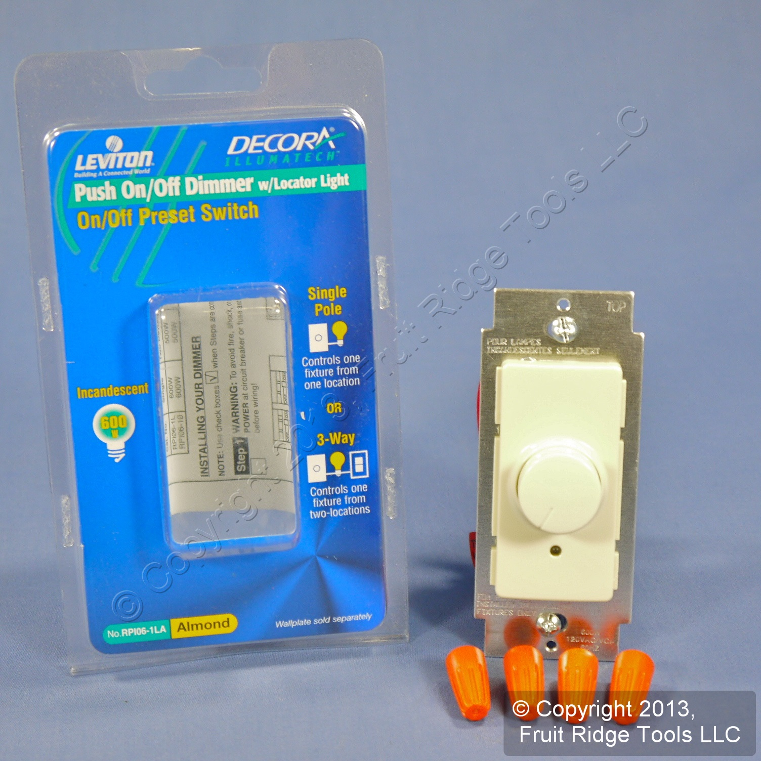 new leviton almond push on off preset rotary dimmer light. Black Bedroom Furniture Sets. Home Design Ideas