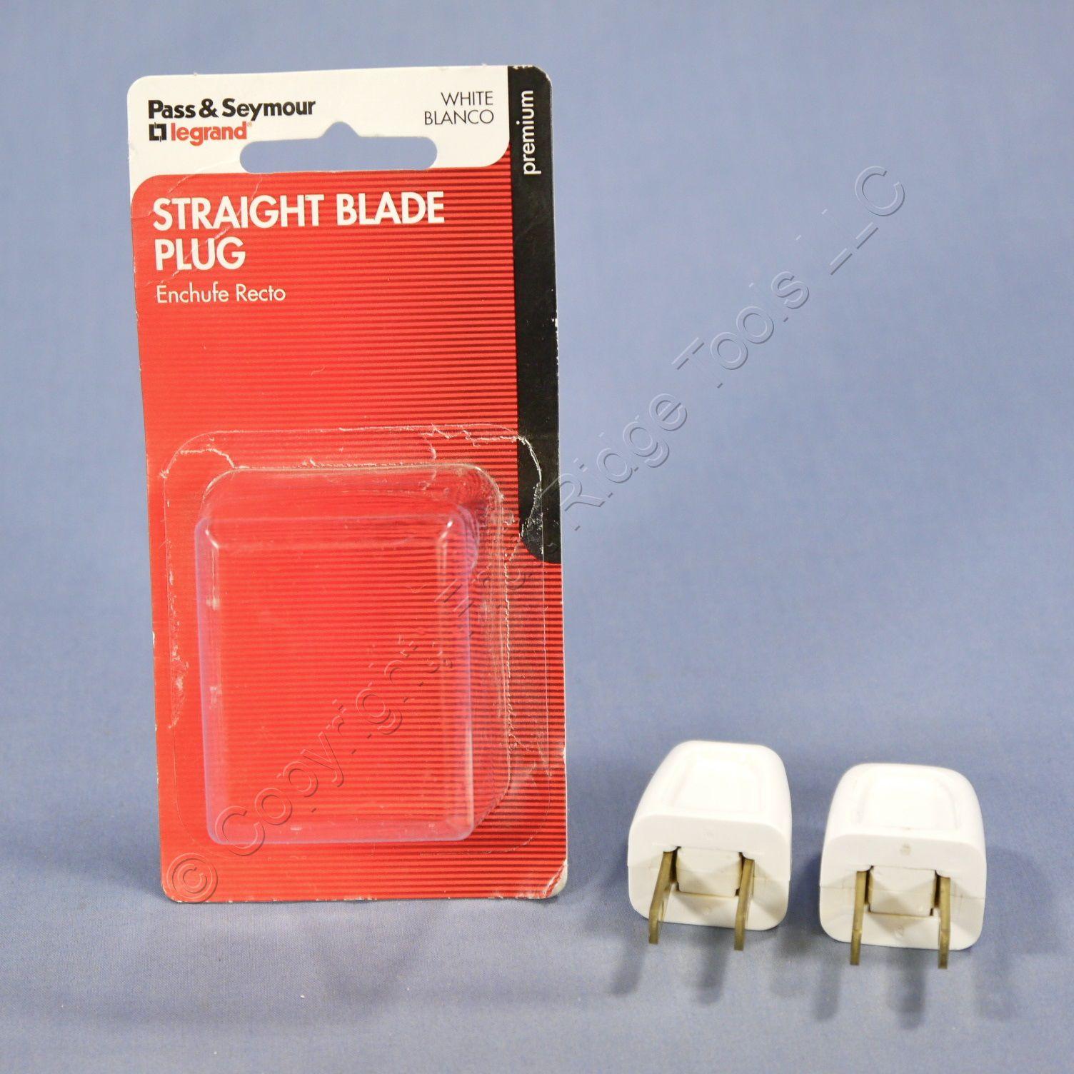 2 Pass and Seymour White Easy Install Plugs 10A 125V Non-Polarized 18-2 SPT-1 1-15P 2611-W