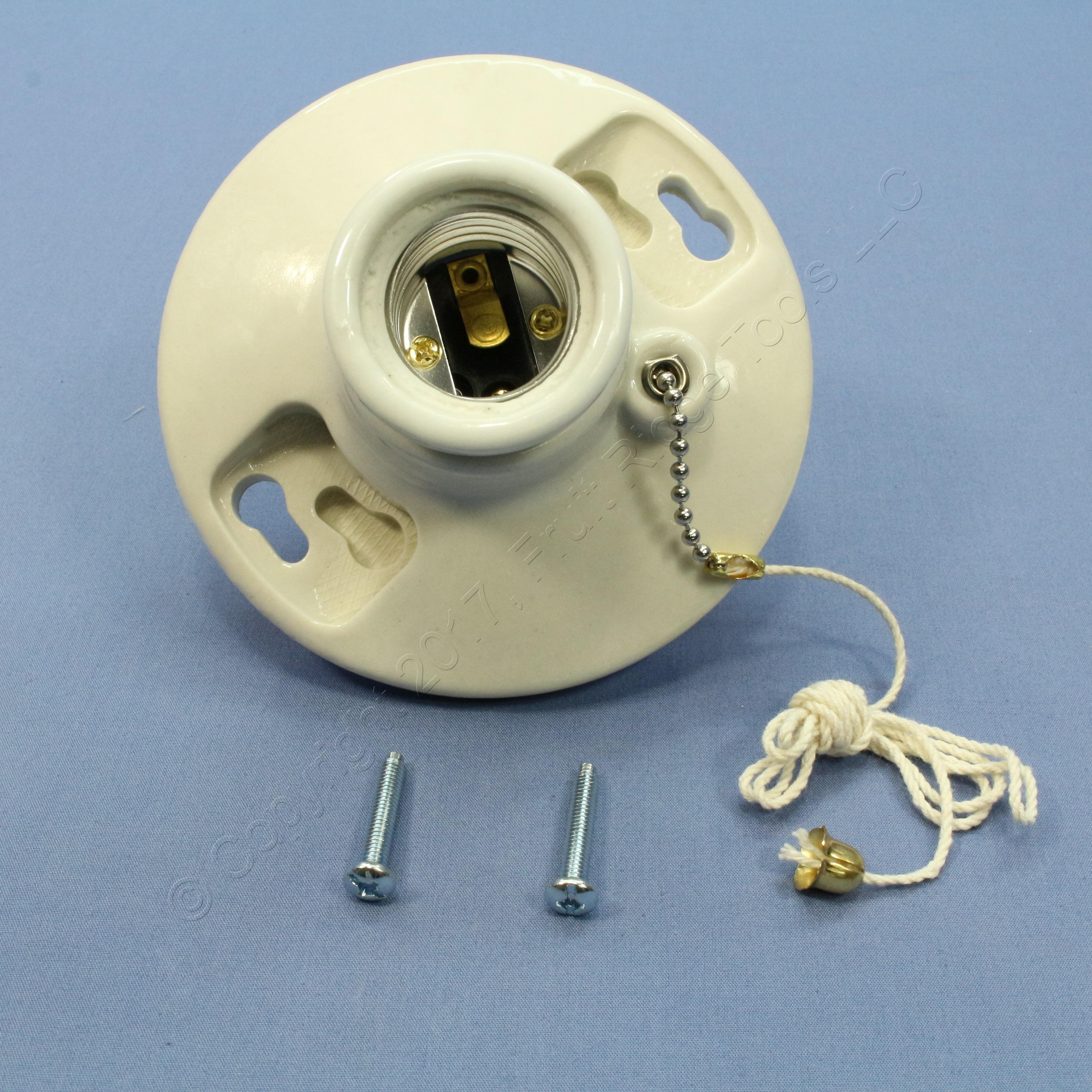 Ceramic Light Socket : New p s medium base porcelain lamp holder light socket